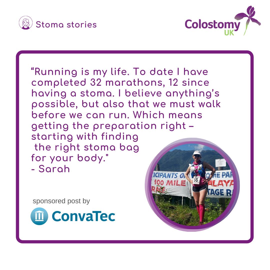 Sarah's stoma story. Every marathon starts with a single step.